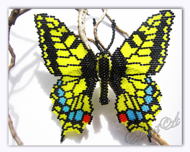 Большое спасибо Марине Таран за такой замечательный МК по плетению бабочек.  Но схемку крылышков я немного изменила.