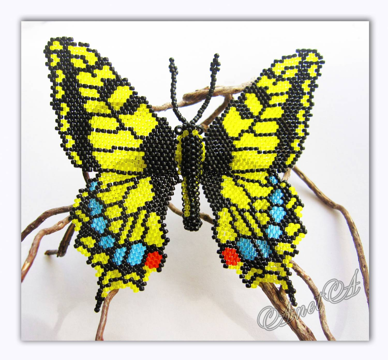 Бабочка махаон из бисера мастер класс фото